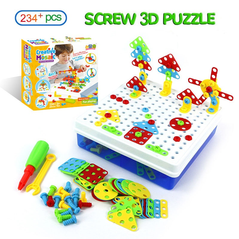 234PCS Drill Screw Nut Puzzle Toys Mosaic Design Puzzle Kit Screwdriver Tool Playset Disassembly Kids Educational Toy Boys Gifts