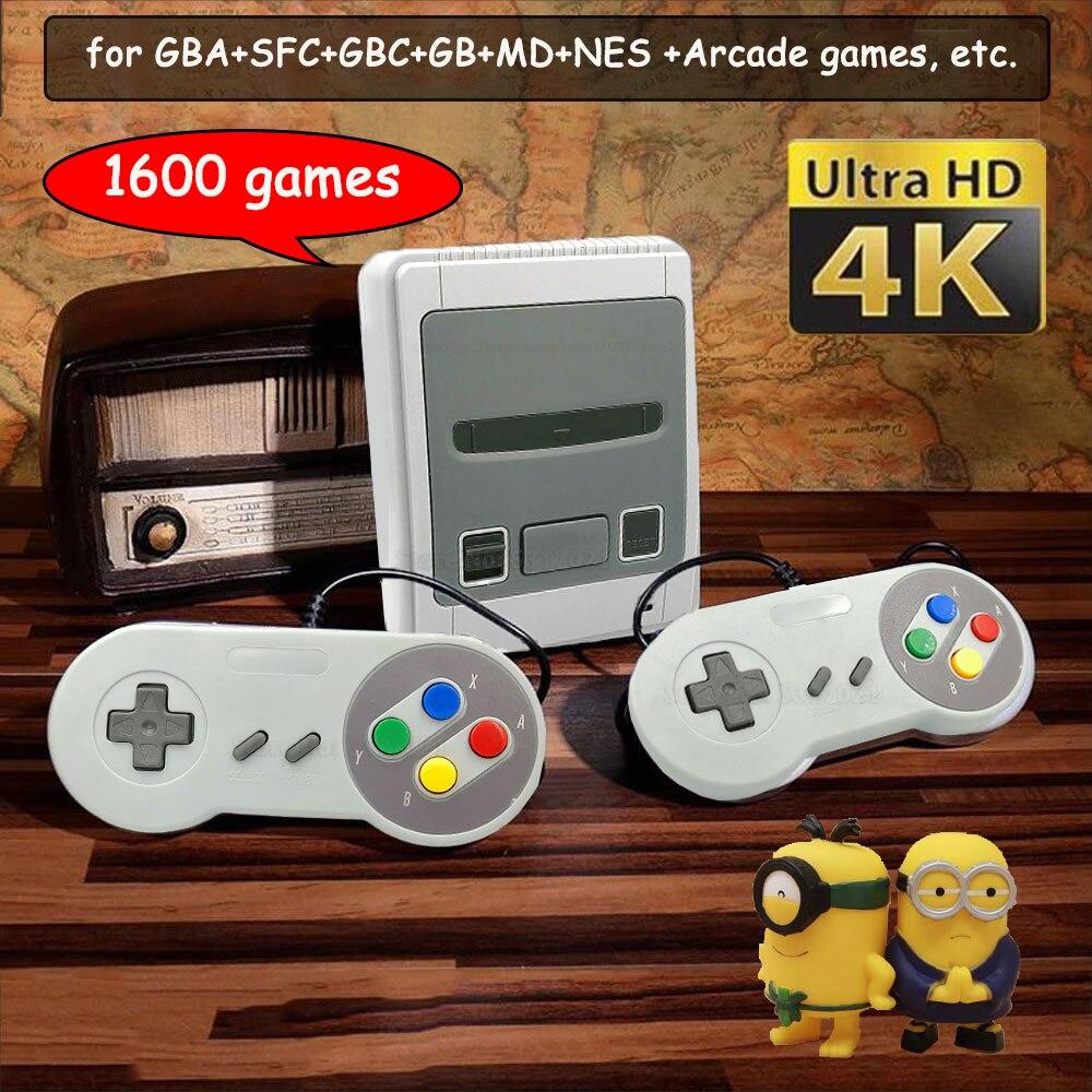 64 Bit 4K HD-out аркадная видеоигровая консоль для Super Nintendo для Sega 1600 Plus ретро-игры мини-геймпад джойстик Прямая поставка