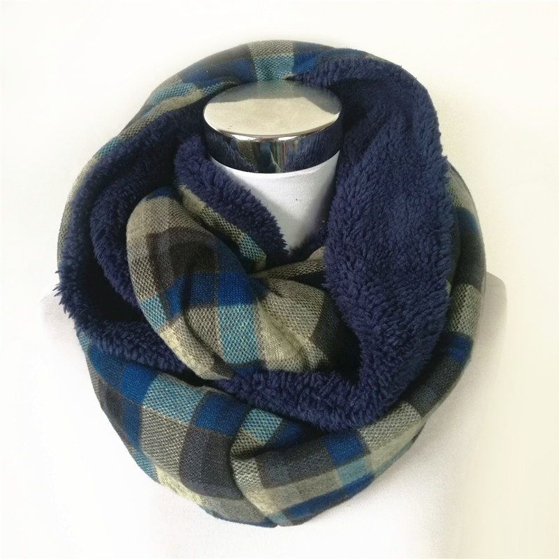 New Cashmere Scarf With Fur Winter Scarves Infinity Scarf Women Soft Acrylic Women Dog Paw Ring Scarfs Warm Plaid Scarf Tartan