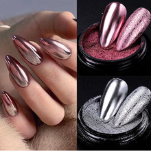 1 коробка ногтей зеркальный блеск порошок металлический лак для ногтей пыль металлический эффект Блестящий золотистый Серебристый УФ-гель ...
