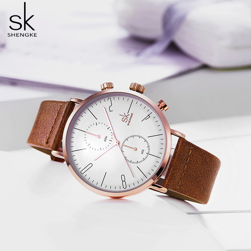 Shengke Relogio Masculino Watches Men Fashion Business Case Leather Band Watch Quartz Business Wristwatch Reloj Hombre