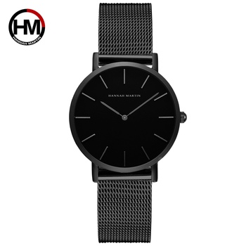 1pc ladies wrist watches Movement High hannah Martin Women Stainless Steel Mesh Rose Gold Japan Quartz Waterproof Women watches - CH36-WYH
