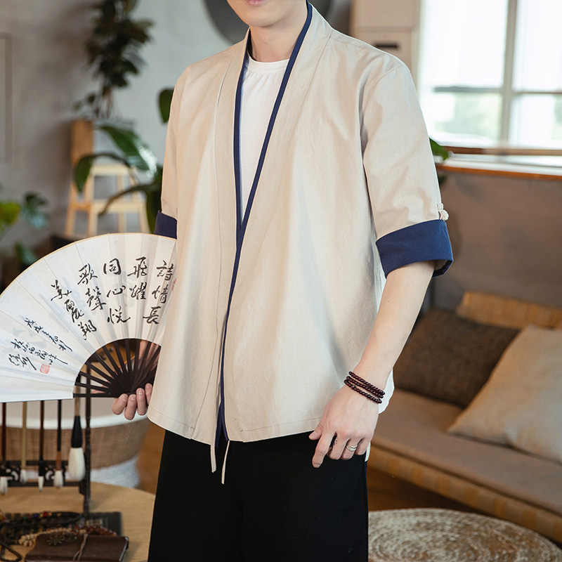 Summer casual Stand Collar Shirt Half Men Half Sleeve Cotton Linen Chinese Style Shirts Kung Fu Tai Chi Tang Suit Style Tops