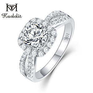 Image 1 - Kuololit 100% handmade ring 10K White Gold Moissanite Rings for Women Lab growth Diamonds Wedding Bride Party Rings Fine Jewelry