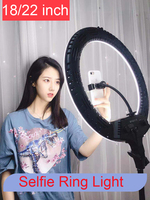 Photo Studio Selfie LED Ring Light 18 22 Lamp Dimmable 3200 5600K 3 Phone Holder with 2M Tripod Stand for Youtube Video Photo