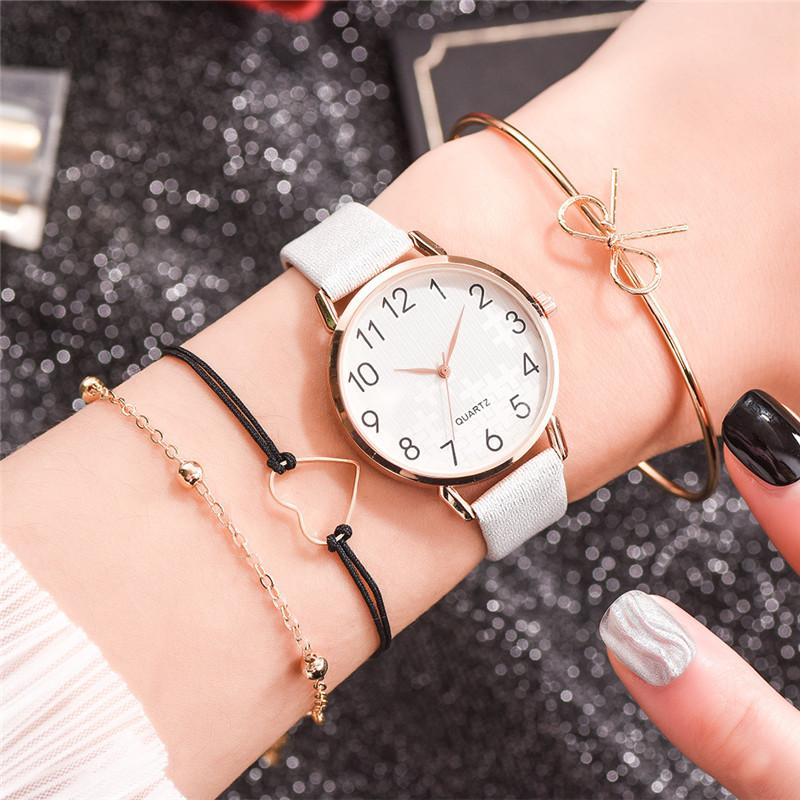 Women Fashion White Watch Quartz Leather Ladies Wristwatches 2019 New Brand Simple Number Dial Woman Clock Montre Femme
