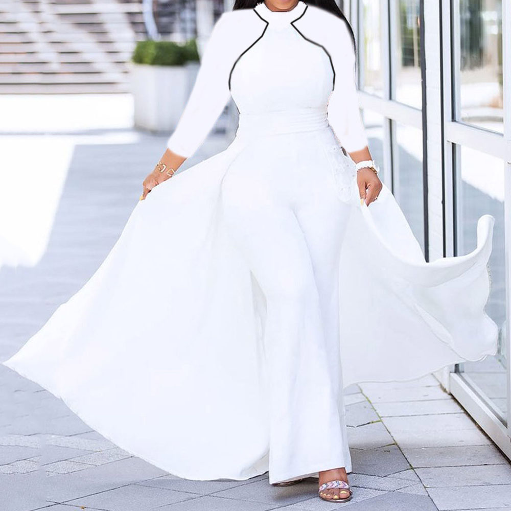 White Women Long Jumpsuit Autumn African 2019 Long Sleeve High Waist Wide Pants Rompers Plus Size 3XL Femme Office Lady Workwear