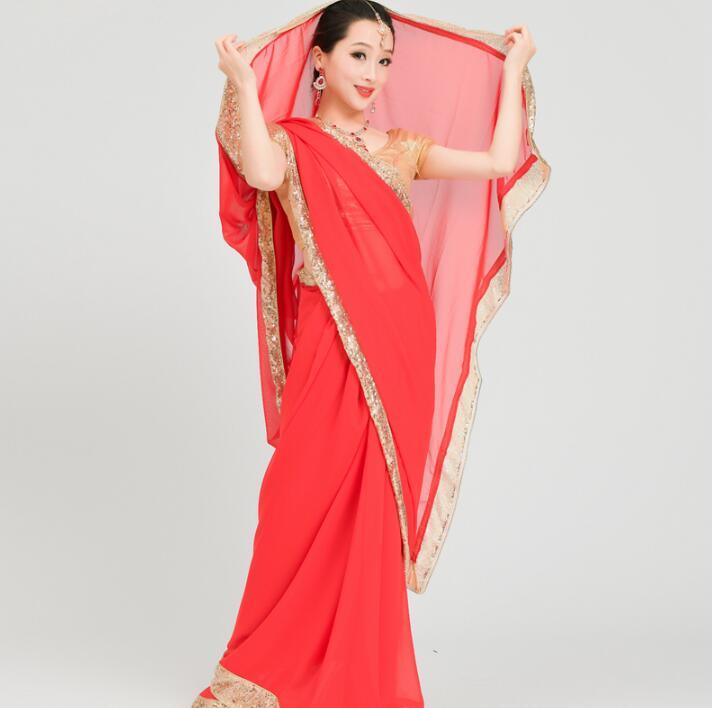 India Sarees Woman Beautiful Dance Costume India Style Performance  Sets Top+Skirt+Saree