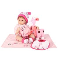 50cm Silicon Lifelike Doll Pink Deer Apron Romper Coat Blanket Hat Early Childhood Kids Baby Toy R9UE