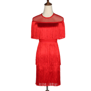 Image 4 - Women Vintage Dress Summer Tassel Layered Vestido Party Clubwear Fringe Dresses Beach Mesh Tight Fashion Ladies Solid Midi Dress