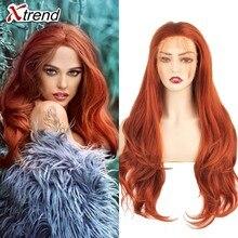 Xtrend syntetyczna koronka peruka Front damskie peruki dla czarnych kobiet z ciało włosy blond różowy imbir 60 czarny szary fioletowy miedzi czerwony