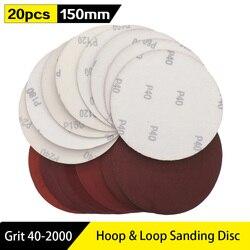 20pcs 6 Inch 150mm Round Red Sandpaper Disk Sand Sheets Grit 40-2000 Hook Loop Sanding Disc Self Adhesive for Sander Grits