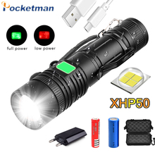 6000LM Super Bright XHP50 LED flashlight USB rechargeable light Zoom flash light T6 Torch with 18650 battery