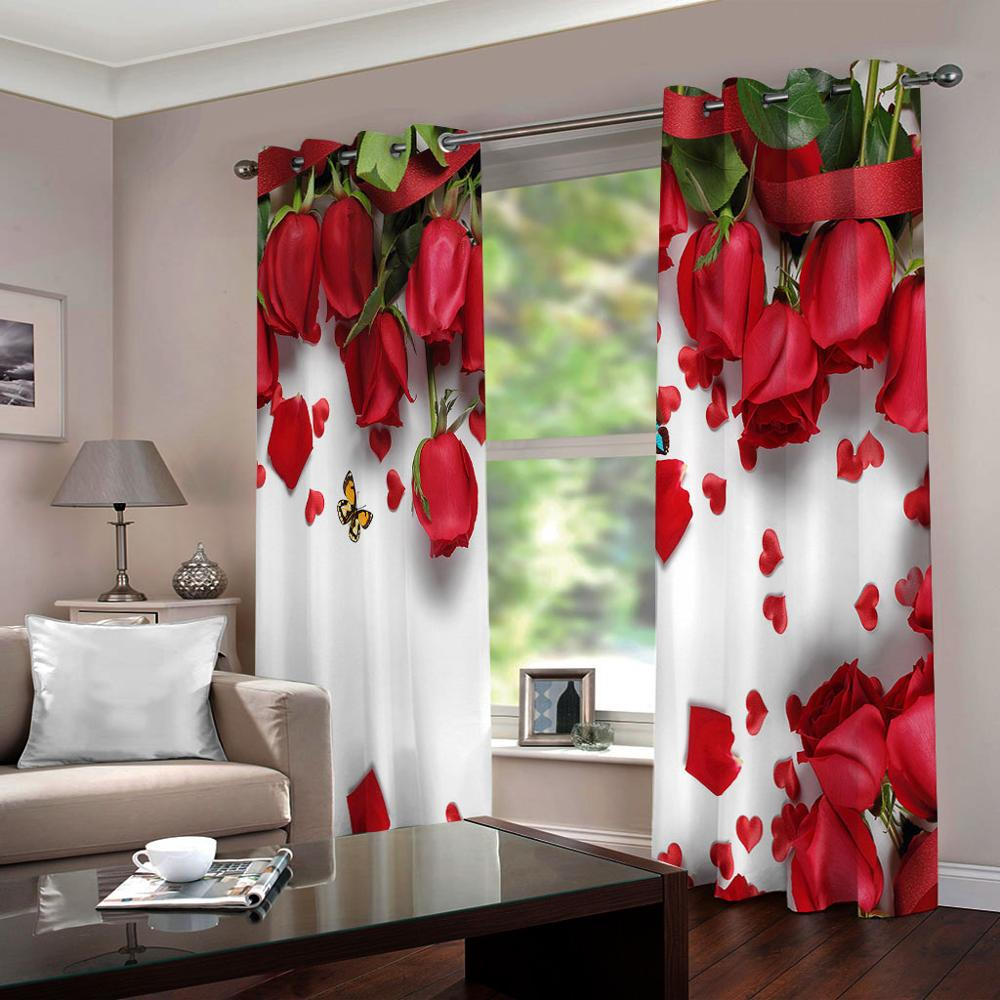3d Red Rose Cortinas Romantic Petal Curtains For Wedding Room Red Bedroom Curtain Window Blinds Curtains Aliexpress