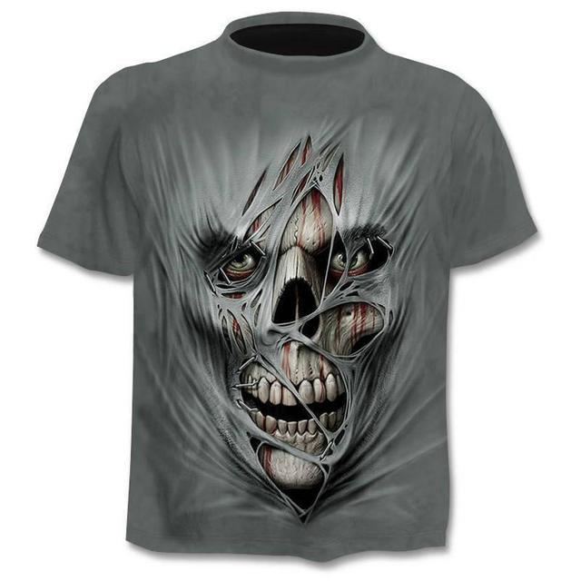 New Mens Skull T shirts Brand punk  style finger skull 3Dt- shirts Men Tops Hip hop 3d print skull punisher T-shirt dropshipping 6