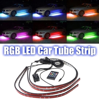 RGB Multicolor Flexible Flowing Car LED Light Underglow Underbody Waterproof Tube System Neon Atmosphere Light image