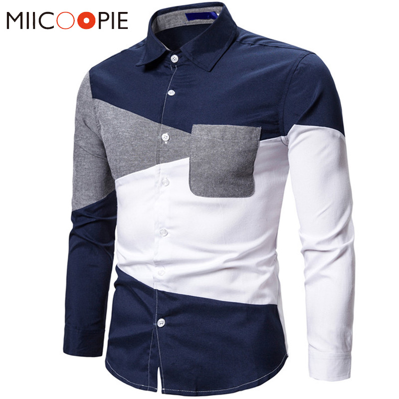 Oxford Patchwork Shirts Men Casual Long Sleeve White Camisa Social Spring Autumn Stitching Color Slim Fit Business Dress Shirt