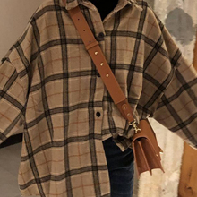 JuneLove Female Spring Street Blouse Shirts Vintage Oversized Plaid Flannel Boyfriend