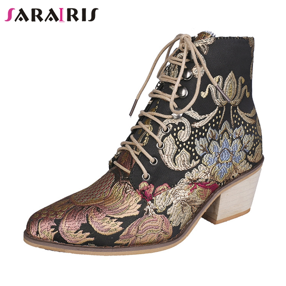 SARAIRIS New Autumn Drop Ship 35 43 Brand Embroider Booties Ladies High Heels Ankle Boots Women 2019 Fashion OL Shoes Woman