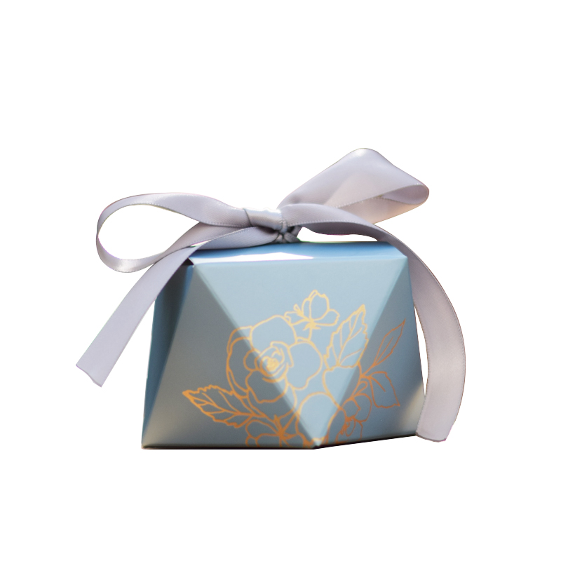 New Blue Diamond Bronzing Printing Gift Box Party Candy Boxes Wedding Chocolate Box Baking Package For Wedding Party Decorations