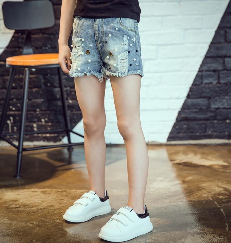 2019 Spring summer new girls denim shorts Korean children's wild washed broken flash edge hot pants jean fille 5