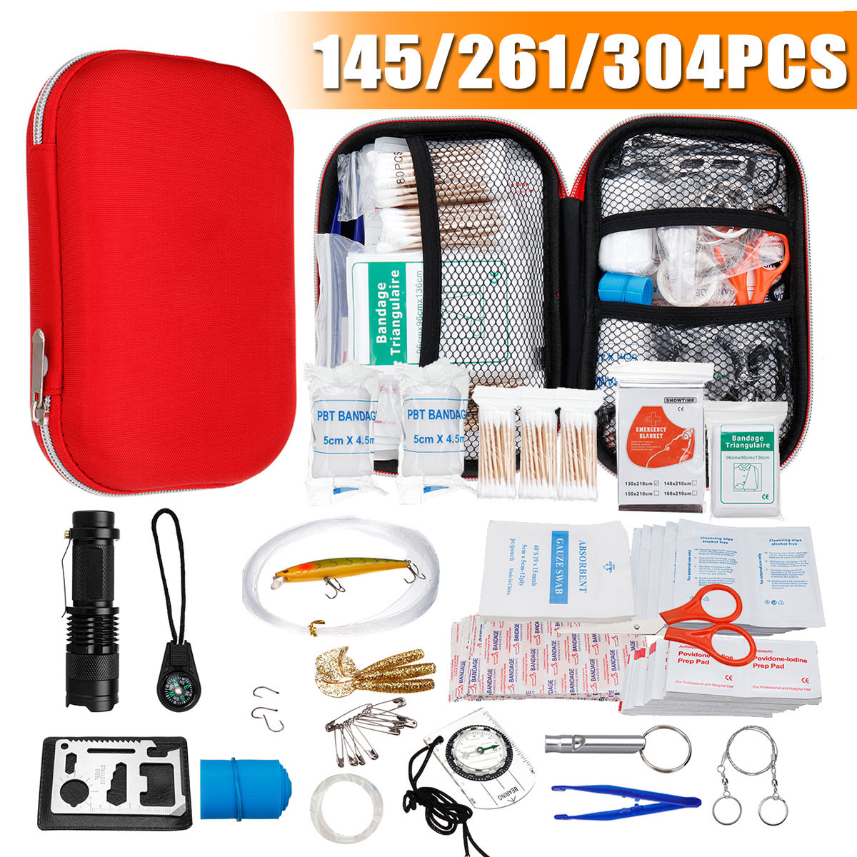 145/261/304 Pcs First Aid Bag Kit Camping Hiking Car Portable Outdoor Medical Emergency Kit Treatment Pack Survival Rescue Box(China)