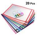10 Standard Taschen 10 Stifte Multi-Funktionale Transparent Trockenen Löschen Tasche Lagerung PVC Nähen Tasche Für Schule Büro Kinder studenten
