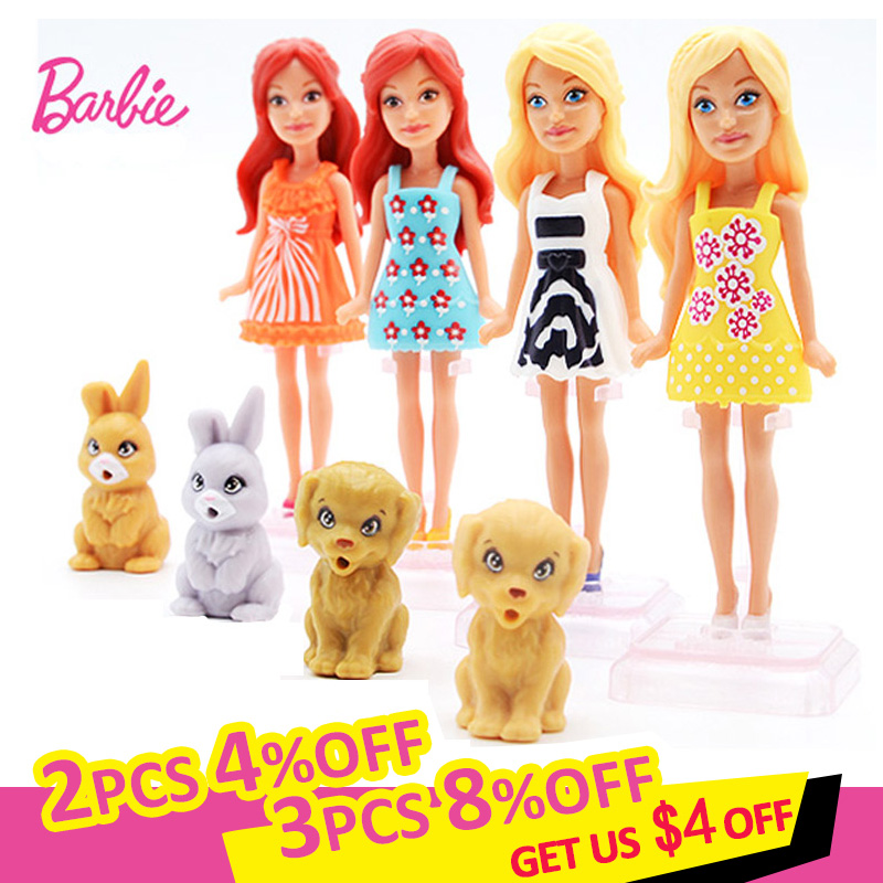 Mini 10cm Barbie Doll With Pet Barbie Baby Toys With Clothes Accessories Dolls For Girls Furniture Toys For Children Brinquedos