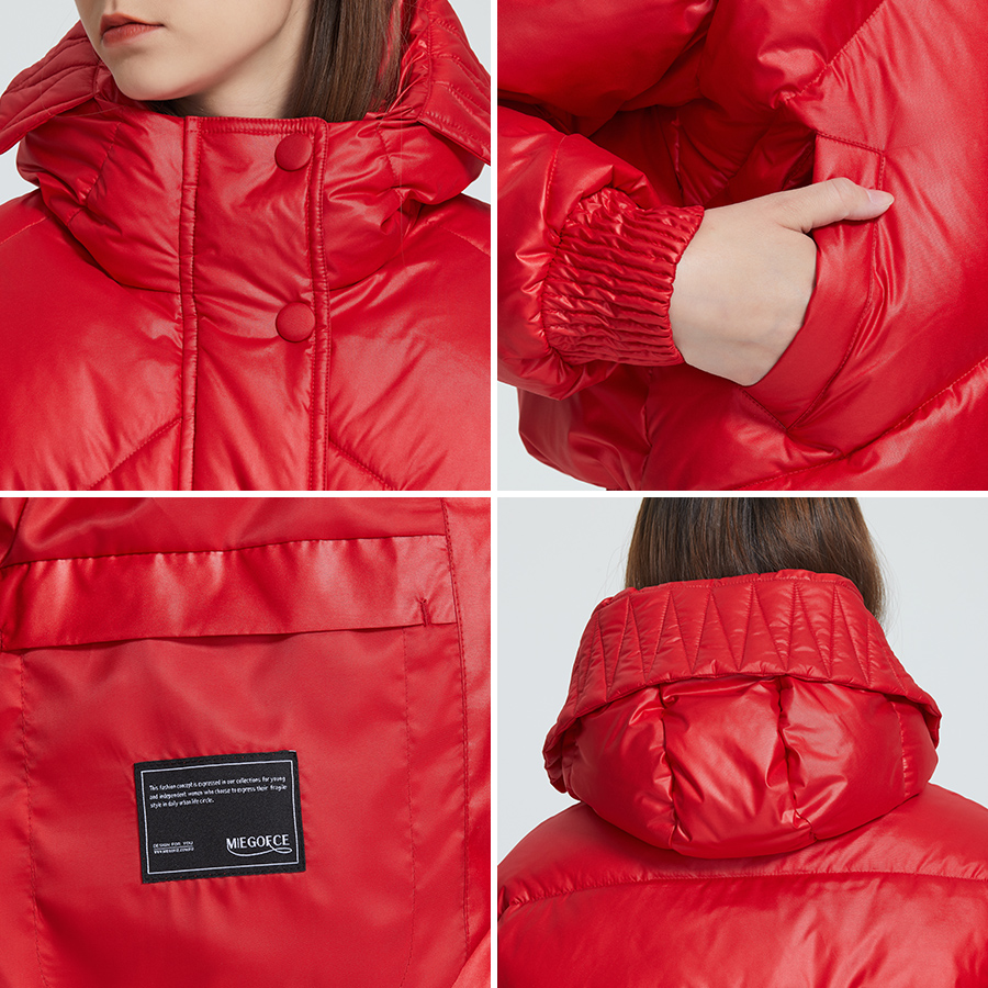 MIEGOFCE 2020 New Design Winter Coat Women's Jacket Insulated Cut Waist Length With Pockets Casual Parka Stand Collar Hooded 5