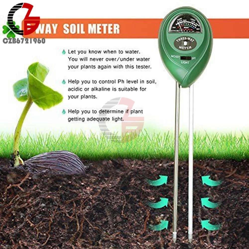 3 в 1 ph-метр для почвы, влагоизмерительный светильник, PH тестер, кислотность, влажность, солнечный светильник, садовые цветы, влажный детектор...