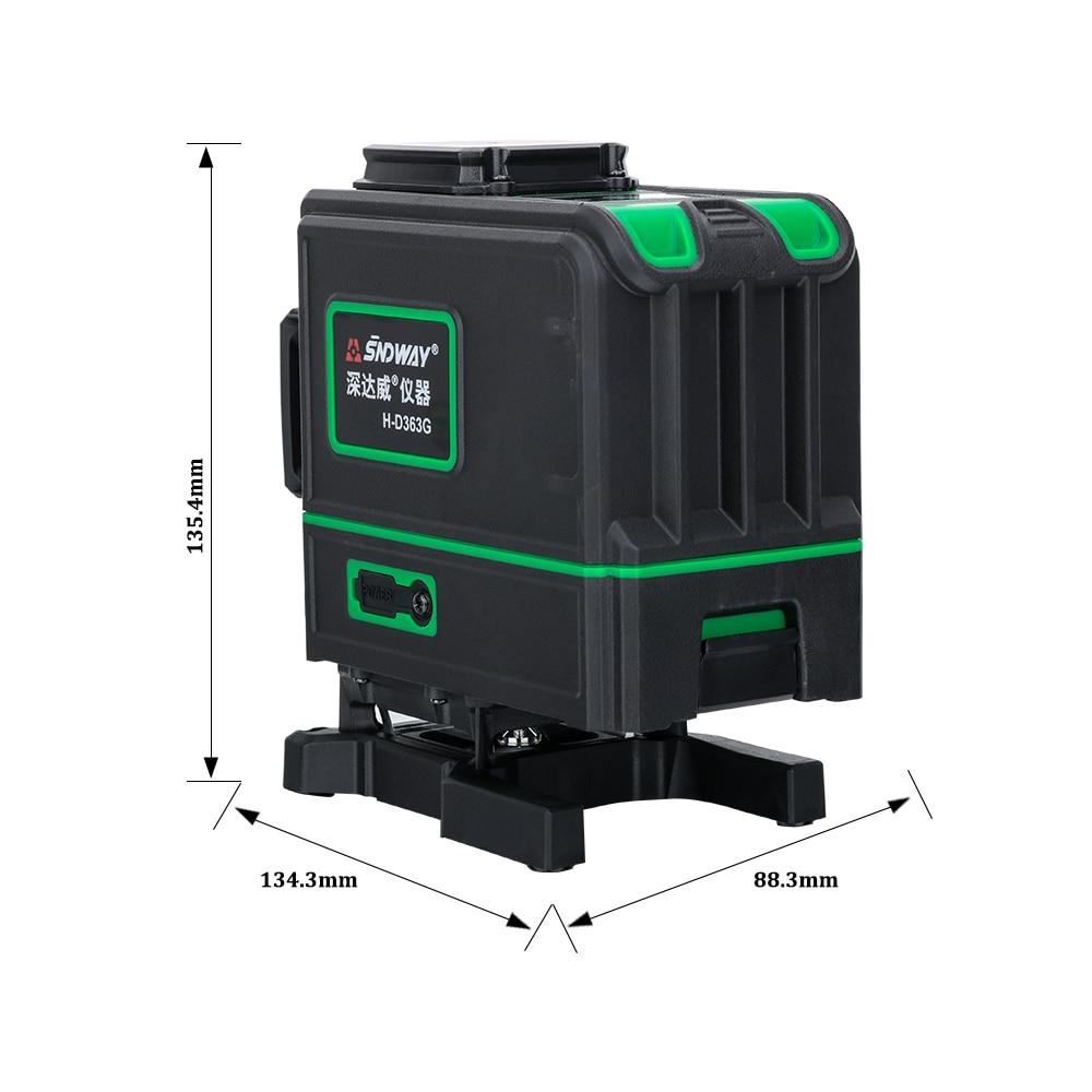 SNDWAY zielony laser Level 12 linii 3D 360 stopni obrotowy krzyż zielony belka niwelator pionowy i poziomy samopoziomujący naklejka ścienna