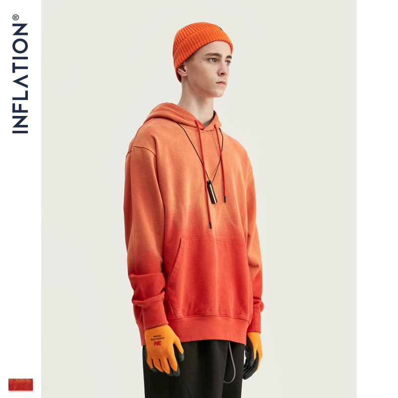 Мужская толстовка INFLATION, оранжевая Толстовка большого размера с капюшоном FW, 100% хлопок, 9650 Вт, 2020|Толстовки и свитшоты|   | АлиЭкспресс
