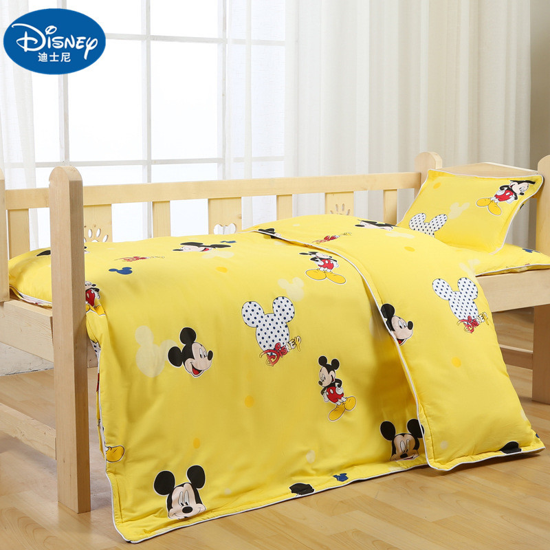 Disney New Yellow 100% Cotton Newborn Bedding Set Baby Cot Mickey Mouse Children Kids Mat Cover Duvet Cover Pillowcase For Baby