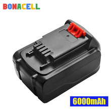 Bonacell 1Pcs 20V 6000mAh Li-ion Rechargeable Battery Power Tool Replacement Battery for BLACK & DECKER LB20 LBX20 LBXR20 bonacell 2pcs 18v 20v 2000mah li ion rechargeable battery power tool replacement battery for black