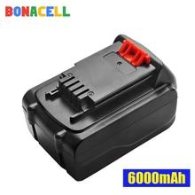 Bonacell 1Pcs 20V 6000mAh Li-ion Rechargeable Battery Power Tool Replacement for BLACK & DECKER LB20 LBX20 LBXR20