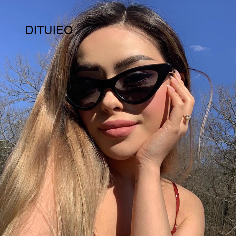 Cat Eye Women Sunglasses Fashion Luxury Brand Designer Lady Female Mirror Points Sun Glasses For Women Oculos De Sol Black