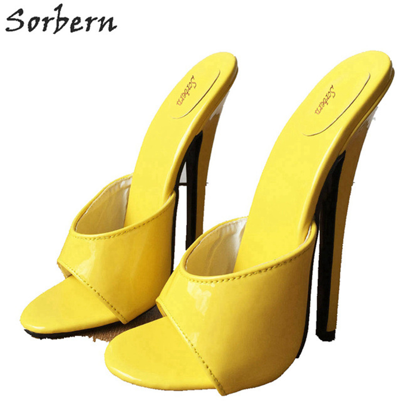 Sorbern, 18 см, сексуальные женские шлепанцы на высоком каблуке, унисекс, с открытым носком, стилеты, фетиш, тапки шлепанцы, черные, матовые - 5
