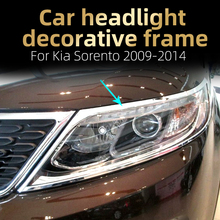 цена на Car headlight decorative frame  Lamp decorative frame  Light strip decoration  ABS chrome frame  For Kia Sorento 2009-2014