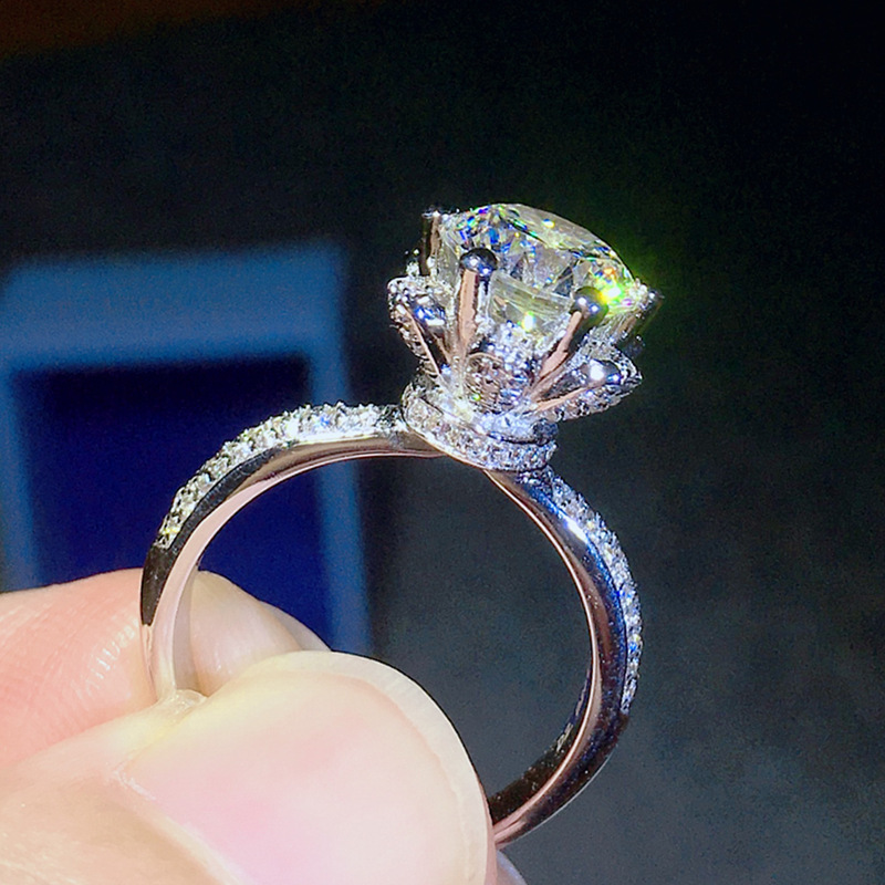 100% réel 925 argent Sterling 2 carats bague en diamant pour les femmes de luxe Bizuteria mariage Anillos pierre gemme argent 925 bijoux anneaux