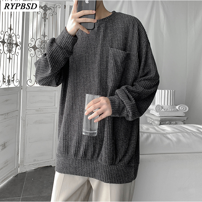 Men Pullover Knitted Sweater Oversize Loose Korean Fashion Long Sleeve O-neck Casual Sweater Cashmere Men 2019 New Autumn Tops