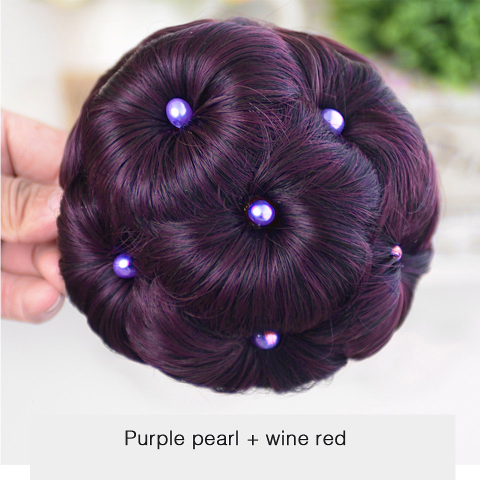 WTB Hair Accessories High Temperature Fiber Synthetic Curly Chignon Bun Hairpiece For Women 9 Flowers Roller Clip In Fake Buns