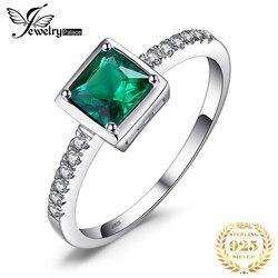 Jewelrypalace praça criado nano esmeralda anel 925 prata esterlina anéis para mulheres anel de noivado prata 925 pedras preciosas jóias