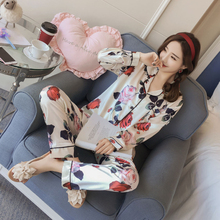 New summer and autumn women's silk pajamas set Satin long-sleeved shirt + trousers Rose print home service