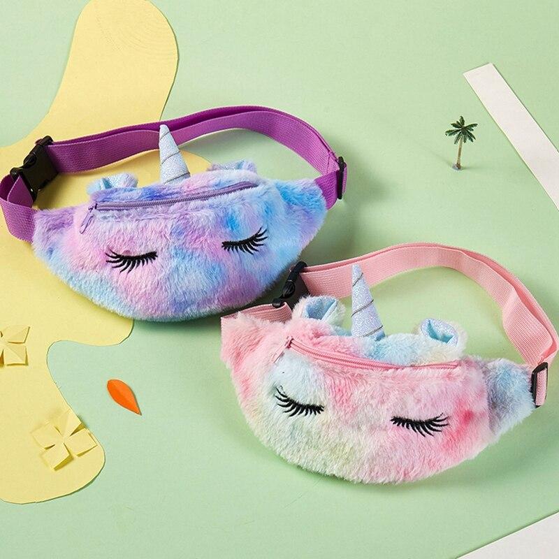 Cute Unicorn Female Waist Bag Kids Fanny Pack Cartoon Plush Women Belt Bag Fashion Travel Phone Pouch Chest Bag