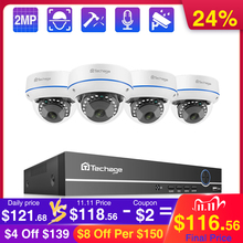 Techage 4CH 1080P Security POE NVR Camera System 2MP Audio Sound IP Camera Outdoor IR Night Vision Surveillance Kit CCTV Video