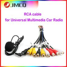Jmcq rádio do carro universal rca 10 em 1 saída cabo de fio com microfone saída de vídeo/entrada áudio subwoofer