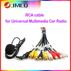 JMCQ Car Radio Universal RCA 10 in 1 Output Wire Cable With Microphone Video Output/input Audio Subwoofer