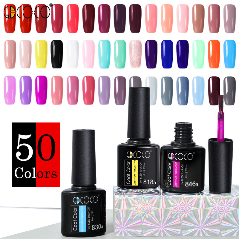 GDCOCO Nail Gel Varnish 8ml High Quality Nail Gel Polish Cheaper Price Plastic Bottle Bright Color Glitter Varnish Nail Gel(China)