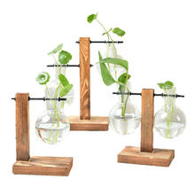 New Hydroponic Plant Vases Vintage Flower Pot Transparent Vase Wooden Frame Glass Tabletop Plants Home Bonsai Decor(China)