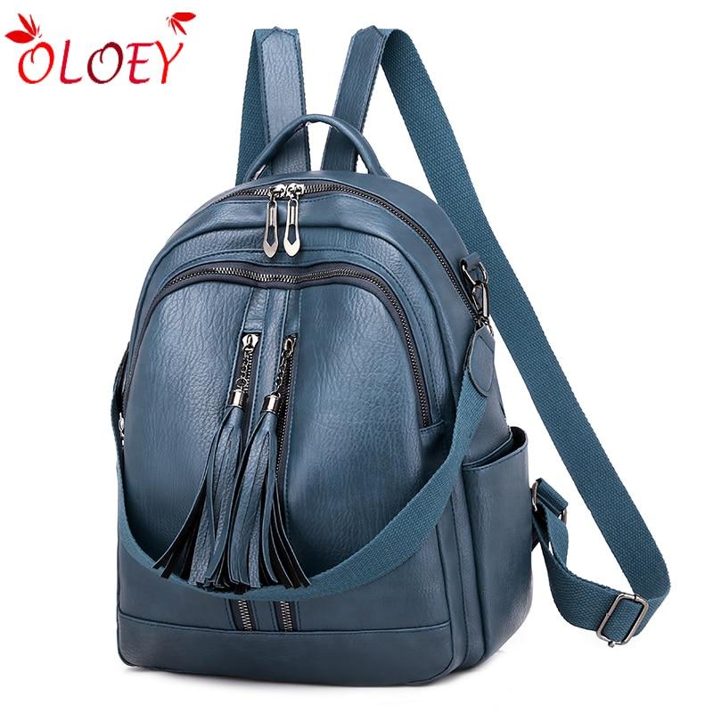 Brand  Fashion Retro Multi-function Backpack Female Fringed Leather Backpack Ladies Small Travel Backpack Bag Female Backpack